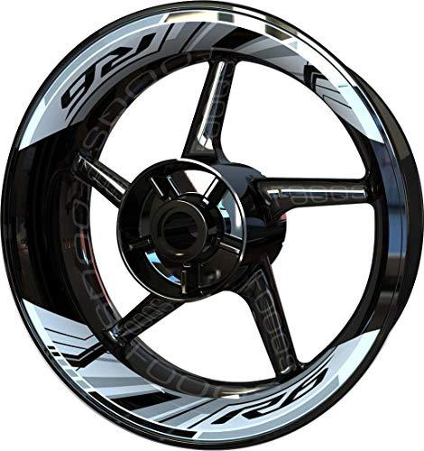 Motocicleta Moto Llanta Inner Rim Tape Decal Pegatinas F2 para Yamaha YZF R6 YZFR6 YZF-R6 (Blanco/Negro)