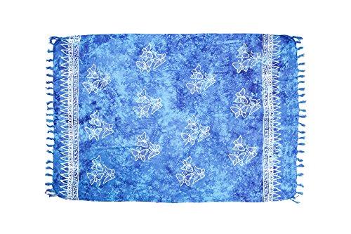 MANUMAR Damen Pareo blickdicht, Sarong Strandtuch in türkis-blau mit Schmetterling Motiv, XXL Übergröße 225x115cm, Handtuch Sommer Kleid Hippie Look, Sauna Hamam Lunghi Bikini Strandkleid