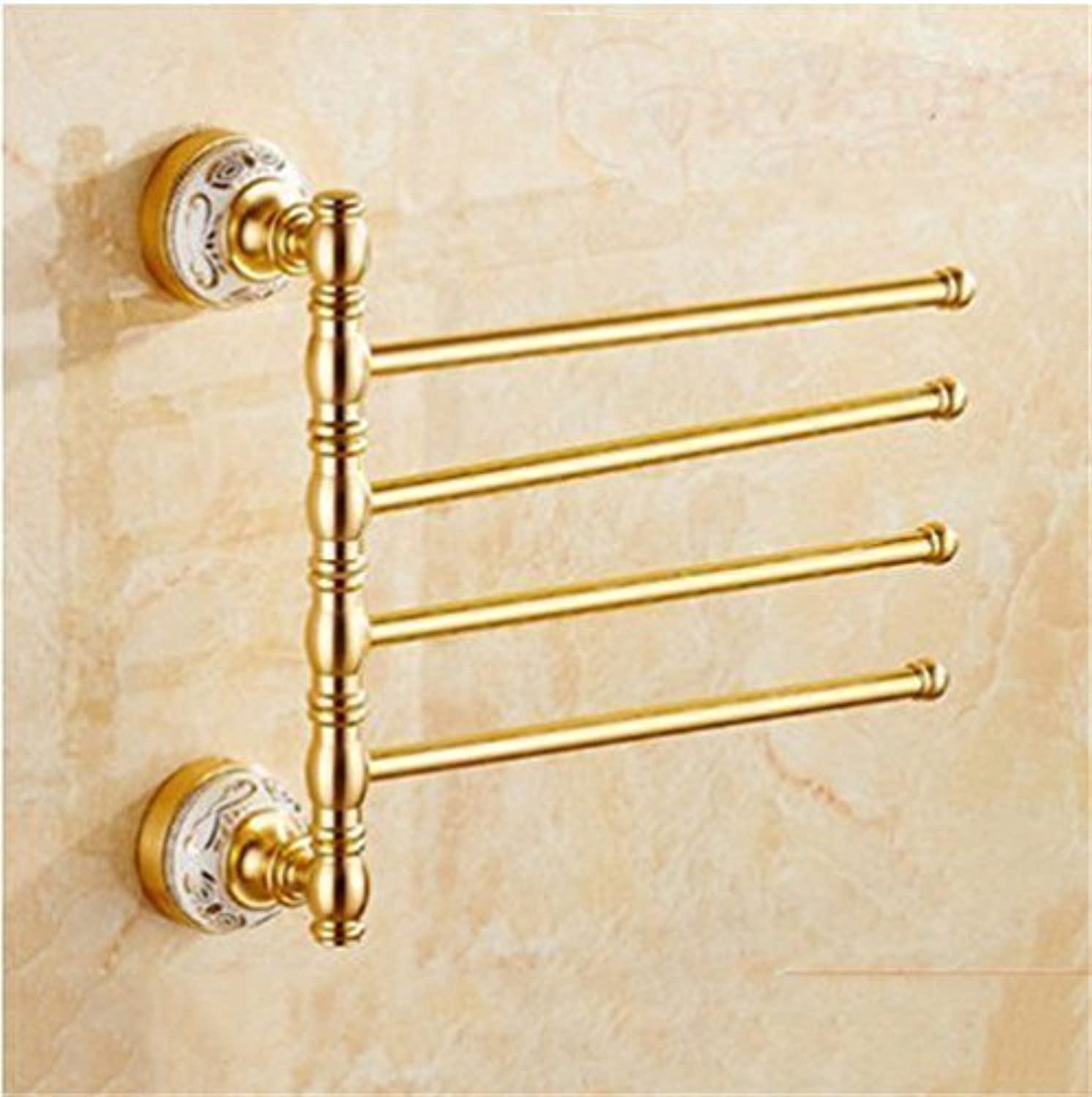 Champagne gold European Style to Ceramic Base, Aluminum Accessories for Bathroom, Toilet, Rack Cabinet,Toothbrush 4 Bar