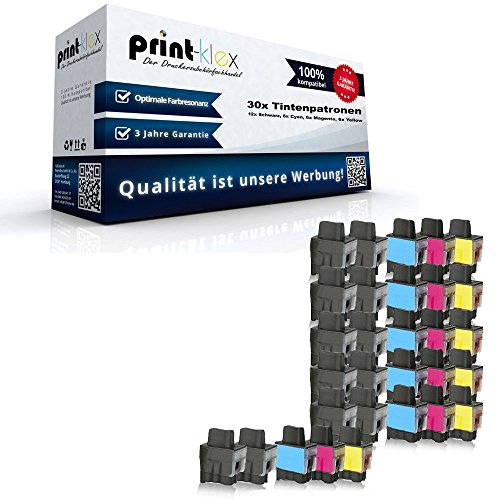 30x kompatible Tintenpatronen für Brother LC900 DCP 315CN DCP 340CW DCP 340DCW MFC 210 MFC 210C MFC 210CN MFC 215C - Sparpack - Color Office Serie LC 900 K LC 900 C LC 900 M LC 900 Y