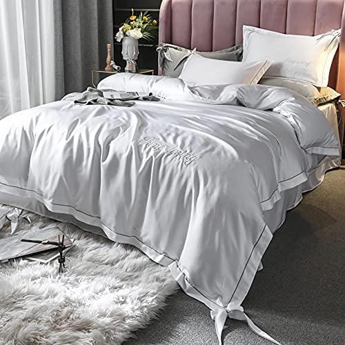 Flamingred Duvet Cubre un Protector de colchón Extra Profundo, Cubierta de Colcha de Seda Lavada de Doble Cara de Cuatro Piezas con Puro Bowknot Adecuado para Cama de 1,5 m,Plata,200 * 230cm