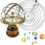 HOPASRISEE Gran Modelo de Orrery del Sistema Solar, Decoración de Ornamento Mecánico del Sistema de Orrery Retro, Modelo de Planeta Sistema Solar Ciencia Astronómica Educativa (1 Set with 9 Balls)