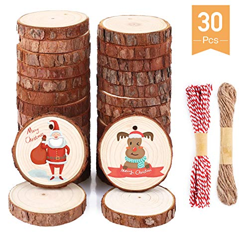 SOLEDI Rodajas De Madera 30 Piezas De 6-7 cm Con Agujero