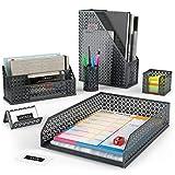 Arteza Organizadores de escritorio en color gris oscuro | 6 accesorios | Portalápices, clasificador de cartas, bandeja de correo, revistero, tarjetero y porta-posits | Ideal para el hogar y la oficina