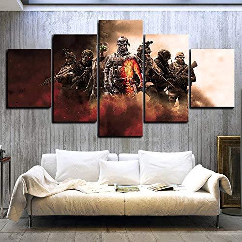 BOYH 5 Pieza Póster Personajes De Videojuegos Campo De Batalla Call of Duty Rainbow Six Cuadros En Lienzo Wall Art Decoración para El Hogar,A,30X50X230X70X230X80X1