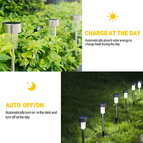 Solar Lights Outdoor, 12Pack Stainless Steel Outdoor Solar Lights - Waterproof, LED Landscape Lighting Solar Powered Outdoor Lights Solar Garden Lights for Pathway Walkway Patio Yard & Lawn-Cool White