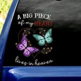 A Big Piece of My Heart Lives in Heaven Decal Car PVC Plastic Window Laptop