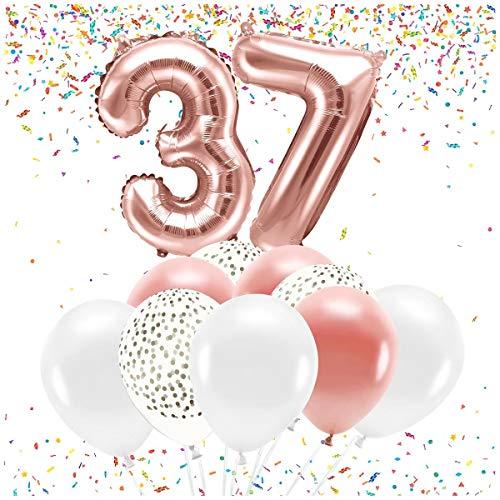 Feste Feiern Party-Deko zum 37. Geburtstag 21 Teile Altrosa Set Zahl 37 Zahlenballon Luftballon Folienballon 37ster Rosegold weiß metallic Dekoration Happy Birthday Jubiläum