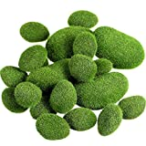TecUnite 20 Pieces Artificial Moss Rocks Decorative Faux Green Moss Covered Stones (2 Size)