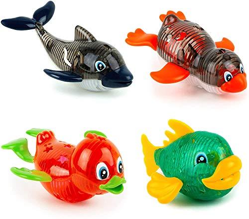 TONINI Light Up piscina juguetes, ballena pescado pato pingüino piscina Sea animales de juguete Juguetes y juegos for niños pequeños for niños de las muchachas infantiles y los niños de 1-3 años (4 PC