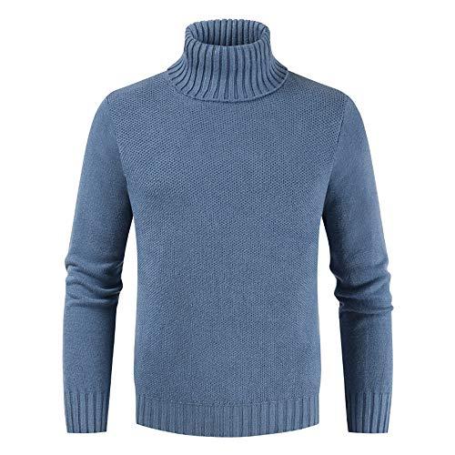 ZHUQI Sweater Herren Pullover Herren Bequeme Casual Hohem Kragen Herren Tops Herbst Und Winter Warm Gestrickte Herren Pullover All-Match Mode Einfachheit Herren Tops E-Blue L