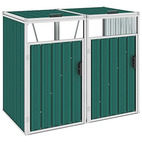 Irfora Mülltonnenbox für 2 Mülltonnen Gartenbox Wasserdicht Fahrradgarage Schuppen Gartenschrank Metall Grün/Anthrazit 143×81×121 cm Stahl