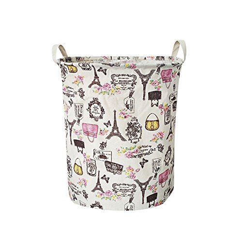 Fine Waterproof Foldable Laundry Hamper, Dirty Clothes Laundry Basket, Large Canvas Fabric Lightweight Storage Basket/Toy Organizer/Dirty Clothes Collapsible (A)