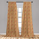 Ambesonne Hen and Chicks 2 Panel Curtain Set, Doodle Pattern of Rooster Chicken and Babies, Lightweight Window Treatment Living Room Bedroom Decor, 56' x 63', Camel Vermilion