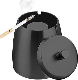 TWBEST Cenicero , cenicero con tapa, cenicero a prueba de viento, cenicero de acero inoxidable, cenicero de mesa y cenicero con base antideslizante, para decoración de hogar y oficina