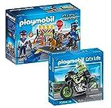 PLAYMOBIL Juego de 2 piezas: 6878 Policía Carretera + 70204 Tour en moto