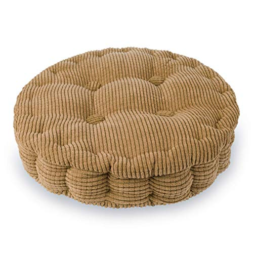 Hottche Round Chair Pad Corduroy Fabric Thicken Corn Cushion, brown-38cm