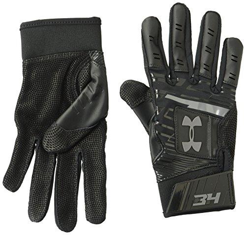 Under Armour Boys' Harper Hustle Baseball Batting Gloves,Black (001)/Graphite,Youth Medium