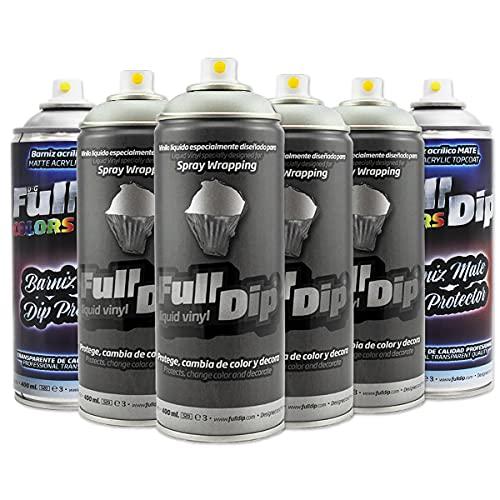 AutoFullCar - Pack Sprays Full Dip Aluminio Metalizado Extra Protección Mate Vinilo líquido | FullDip