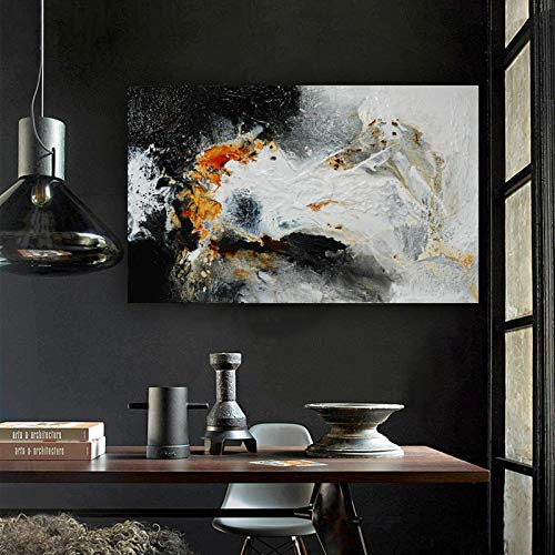 N / A Ingrandisci Pittura a Olio Astratta in Bianco e Nero Immagine su Tela Soggiorno Decorazione murale Artistica Cornice Senza Cornice 30x50cm