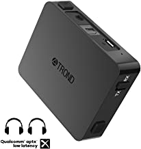 TROND Bluetooth Transmitter Receiver for TV PC iPod, Digital Optical Input & 3.5mm Aux Port, 500mAh Battery Powered, Dual Link AptX Low Latency - Specially Designed for Pairing Two Devices