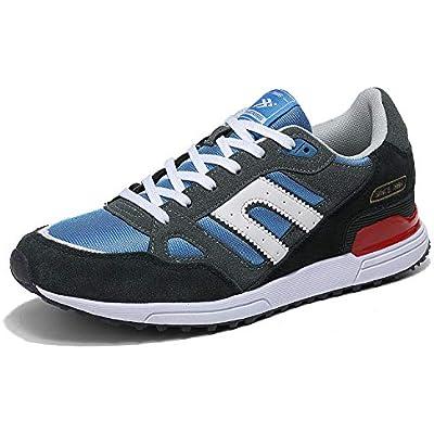 AX BOXING Zapatillas Hombres Deporte Running Sneakers Zapatos para Correr Gimnasio Deportivas Padel Transpirables Casual 40-46 (42 EU, Azul Amarillo)