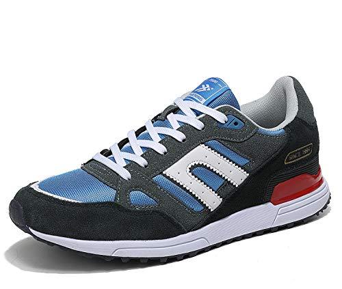 AX BOXING Zapatillas Hombres Deporte Running Sneakers Zapatos para Correr Gimnasio Deportivas Padel Transpirables Casual 40-46 (41 EU, Azul Amarillo)