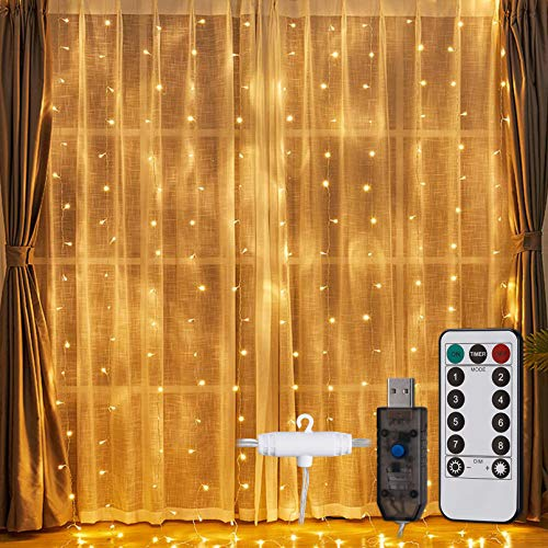 TORCHSTAR 9.8ft x 9.8ft Window Curtain String Lights, 300 LED USB Powered, 8 Lighting Modes Fairy Lights, Remote Control, IP65 Waterproof for Christmas Bedroom Party Wedding, Warm White