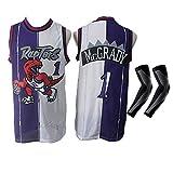 CWWAP McGrady No.1 Basket Uniform Top Raptors Retro Ricamo Maglie da Basket, Gilet Traspirante in Poliestere Vintage con Protezioni per Le Braccia, S-2XL-B-M