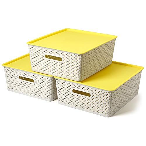 EZOWare 3 pcs Cestas de Almacenaje Multiuso con Tapas, Cajas Organizadoras de Plástico Apilable con Efecto de Mimbre y Asas para Cocina, Baño - Gris Claro y Amarillo / 42 x 36 x 16 cm