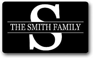 The Smith Family Name/Text Personalized Custom Gift Black - Outdoor/Indoor Non Slip Decor Funny Floor Door Mat Area Rug Doormat 15.7x23.6 Inch