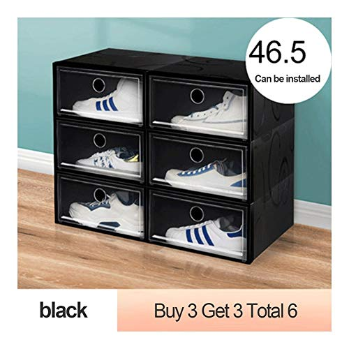 Tier Shoe Rack Shoe Tower Thickened dustproof Shoe Box Storage Box Transparent Drawer Shoe Storage Artifact Plastic Shoe Rack Shoe Cabinet Space Saving (Color : Black)
