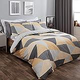 Dreamscene Parure de lit avec Housse de Couette et taies d'oreiller Motif géométrique Scandi Ocre Jaune Moutarde Gris – King Size