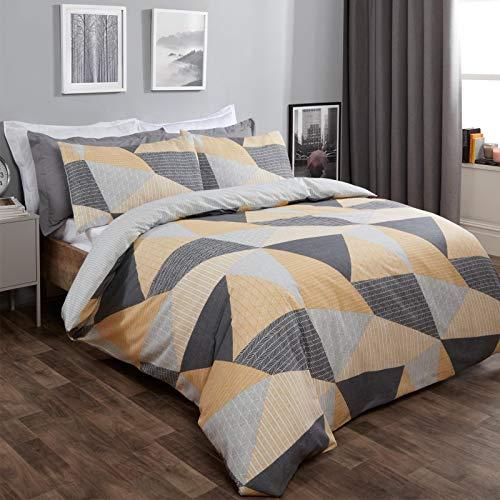 Dreamscene Geometrischer Bettbezug mit Kissenbezügen, strukturiertes Scandi-Bettwäsche-Set, Ocker, Senfgrau – Doppelbett