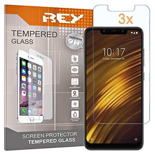 REY 3X Protector de Pantalla para XIAOMI POCOPHONE F1, Cristal Vidrio Templado Premium