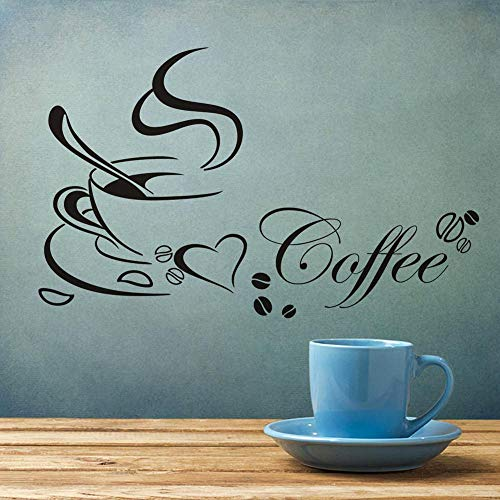 N/A Kaffeetasse des englischen AlphabetsPVC selbstklebende Wandtattoos DIY Wohnzimmer Wandtattoos Mädchen Schlafzimmer Schönheitssalon Dekoration Wandbild