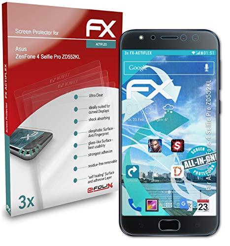 atFolix Schutzfolie kompatibel mit Asus ZenFone 4 Selfie Pro ZD552KL Folie, ultraklare & Flexible FX Bildschirmschutzfolie (3X)