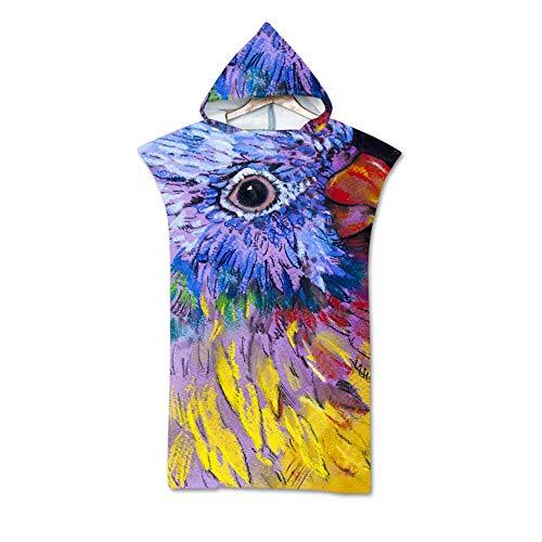 NAID badhanddoek met capuchon poncho microvezel dier bonte papegaai print wisselende badhanddoeken badjas sneldrogend 140 * 75 cm
