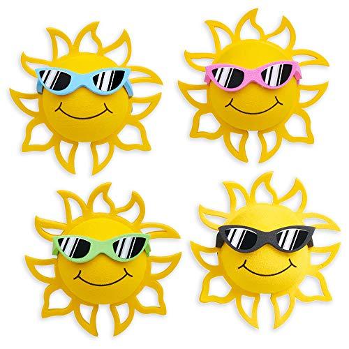 Coolballs California Sunshine w Sunglasses Car Antenna Topper/Auto Mirror Dangler/Desktop Spring Stand Bobble Buddy (4 Pack - Green, Blue, Pink, Black) (Car Accessories)