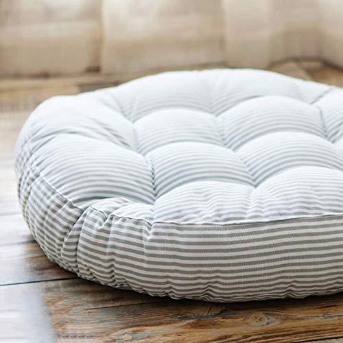 XHNXHN Cojines de silla de rayas redondas, algodón y lino cojines de la silla de comedor Tatami piso espesa interior exterior transpirable asiento cushion-gris 42x42x6cm
