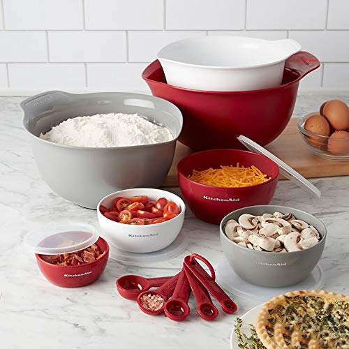 KitchenAid Baking Measure Mixing Bowl with Lid Spoons Set 12 Pieces - Red