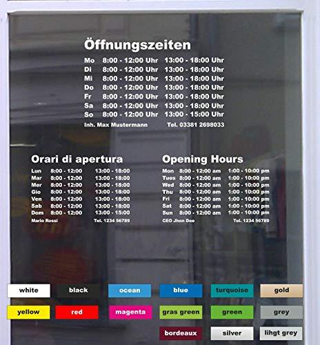 Don Cappello Öffnungszeiten Maxi Schaufensterbeschriftung Aufkleber Werbung Laden Geschäft Rot Breite 58 cm