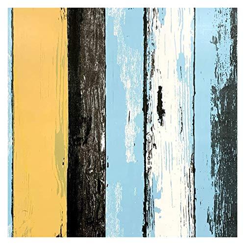 YZZ Peel Azul y Palo Papel Pintado Autoadhesivo Wallpaper Retro Multicolor Raya Papel Tapiz Vinilo Impermeable Impermeable 45 * 1000 cm