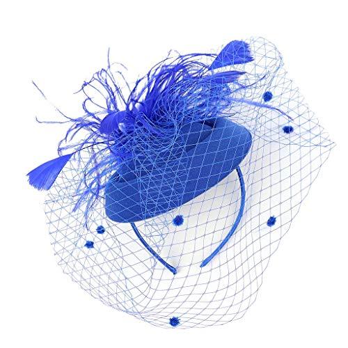 CANDLLY Stirnband Damen, Kopfbedeckung Zubehör Kopfschmuck Federn der Frauen Fascinators Hut Haarnadel Cocktail Headwear Pillbox Hut(Blau,One Size