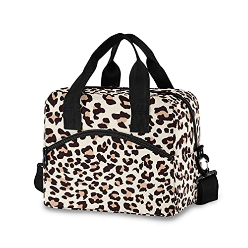 Beige Leopard Lunch Bag with Shoulder Strap for Women Men Insulated Lunch Box Tote Bags Water-resistant Cooler Bag for Office Work Picnic Beach (11x7x9 Inch)