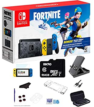 Newest Nintendo Switch Wildcat Bundle Fort-nite Special Edition 32GB Console - Yellow and Blue Joy-Con 64GB SD Card and GalliumPi Ultimate 18-in-1 Bundle