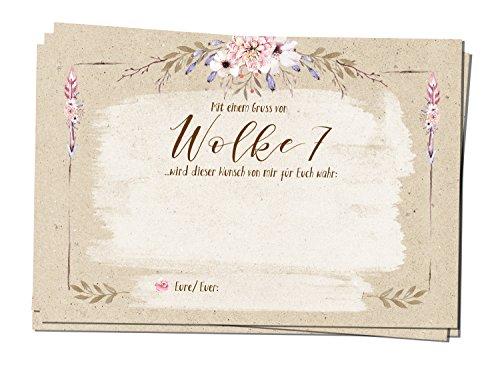 bigdaygraphix 50 Ballonflug-Karten Hochzeits-Karten Hochzeitsspiel extra leicht A6 Ballon Karten Kraftpapier Landhausstil Country Flowers