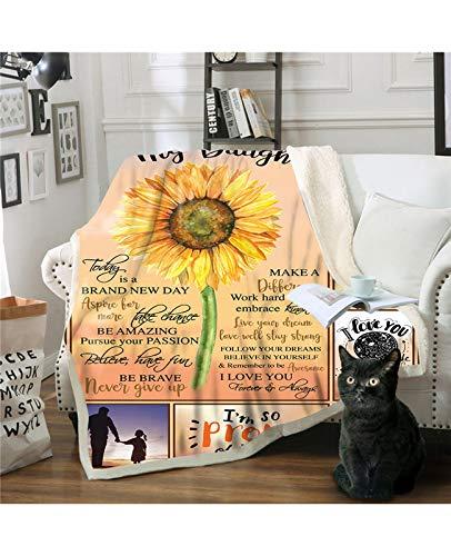 NIU Girasole Amore Lettera for la Famiglia Ultra-Morbido Panno Morbido della Flanella Letto Manto Letto Caldo Lanci for la casa (Color : A, Size : 150 * 130cm)