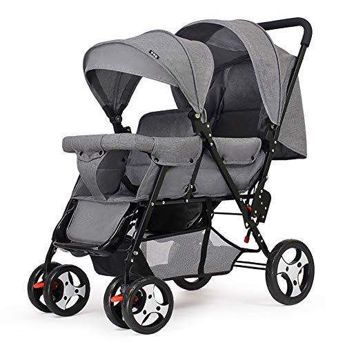 Poussettes Double jumeau Panier bébé Assis arrière et après Chariot de bébé Poids léger Chariot Enfant inclinable Version étendue Buggy