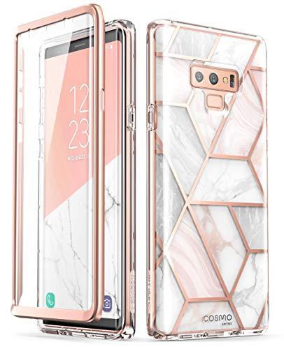 i-Blason Hülle Kompatibel für Samsung Galaxy Note 9 Marmor 360 Grad Handyhülle Bumper Hülle Glitzer Schutzhülle Cover [Cosmo] mit integriertem Bildschirmschutz, Marmor - 6.4 Zoll
